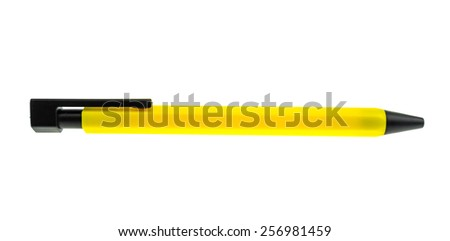 Yellow plastic pen isolated on a white background - stock photo