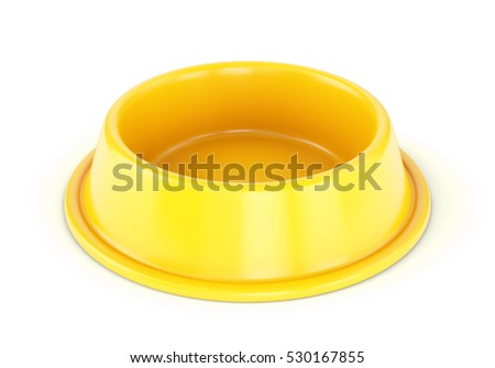 Yellow Plastic pet bowl for dogs or cats isolated on white background. 3D illustration