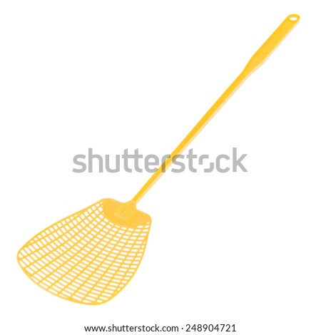 yellow plastic swatter isolated on white - stock photo