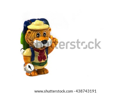 Yellow plastic toy lion , different character, isolated on white background. - stock photo