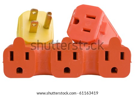 Yellow plug next to a series of orange outlets on a white background. - stock photo