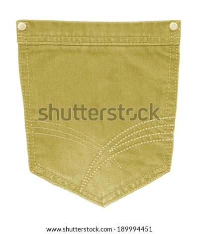 yellow  pocket closeup on white background - stock photo