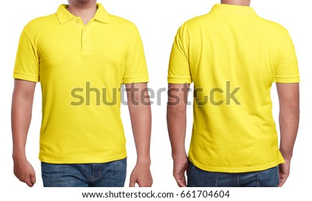 Yellow polo tshirt mock up front stock fotografie bez for Plain yellow long sleeve t shirt