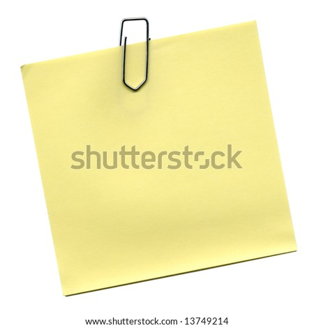 Yellow post it isolated over white - stock photo
