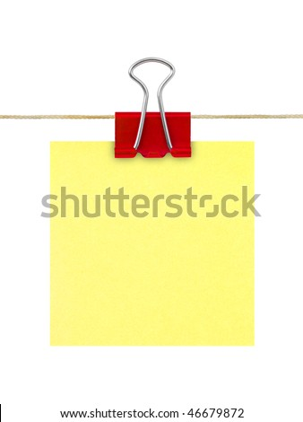 Yellow post-it note paper isolated on white background - stock photo