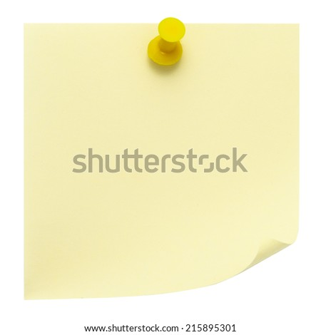 Yellow post-it note pinned on a pure white background. Waiting for your message. - stock photo