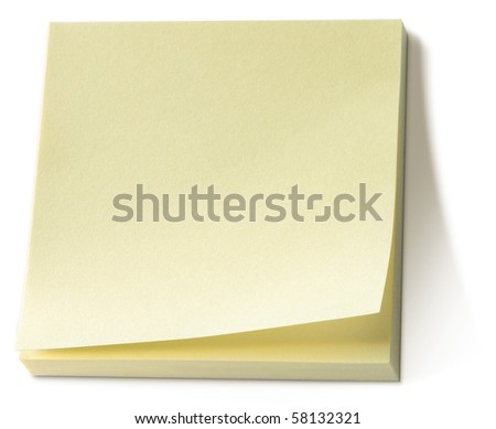 yellow post it note sticky memo pad on a white background - stock photo