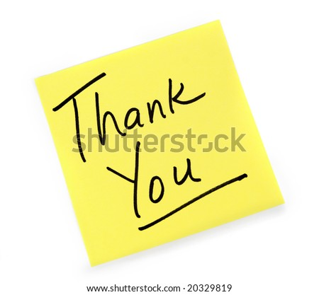 Yellow Post-it note with Thank You message. - stock photo