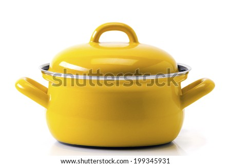 Yellow pot isolated on a white background - stock photo
