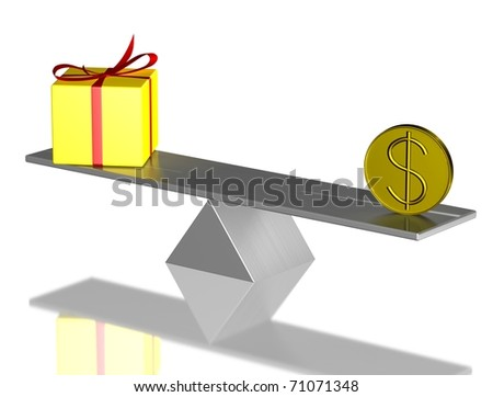Yellow present box and usd coin on balance. 3d render. - stock photo