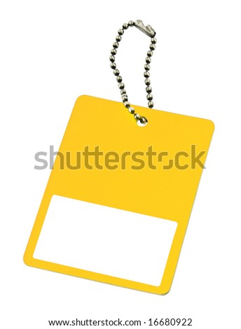 yellow price tag with copy space isolated on white