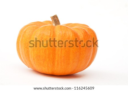 yellow pumkin as white isolate bakground - stock photo