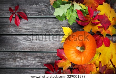 yellow pumpkin on old weathered wooden background