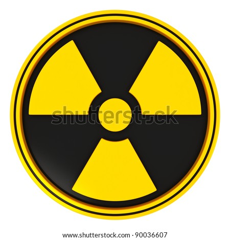Yellow  Radiation Sign in Circle on black with white background