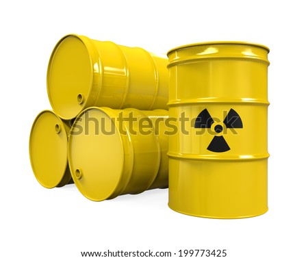 Yellow Radioactive Barrels - stock photo