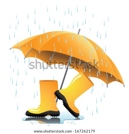 Yellow rain boots and umbrella with puddle. jpg. - stock photo