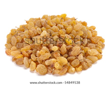 Yellow raisin dried fruit isolated on white