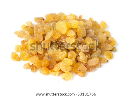 Yellow raisins isolated on white background