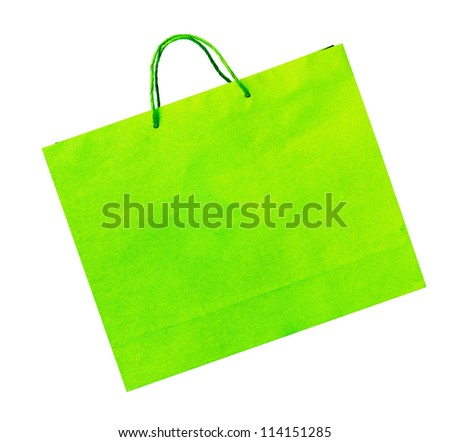 Yellow raw recycle bag isolated on white with work path included for business and campaign use.