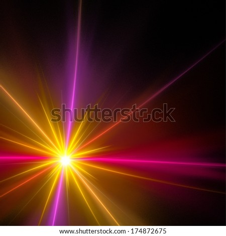 Yellow rays on black background. Abstract illustration. - stock photo