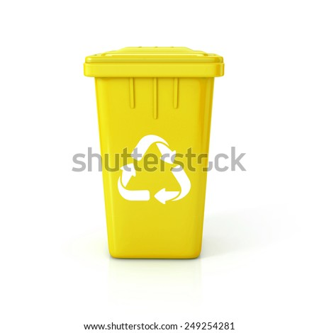 Yellow Recycle bin with recycle sign. 3d illustration isolated on white.  - stock photo