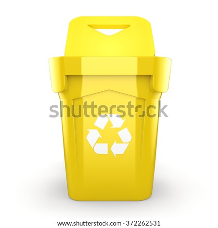 Yellow Recycling Bin isolated on white background - stock photo