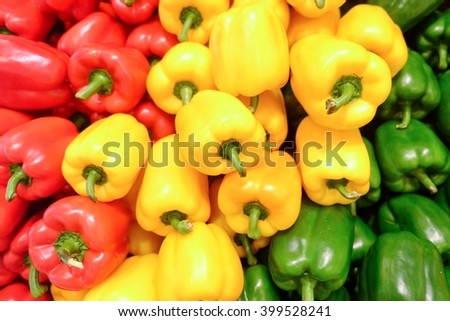Yellow, red and green bell pepper, Pepper, a little spicy And a vegetable that can be used to cook a lot. - stock photo