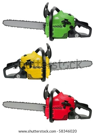 yellow red and green chainsaws isolated