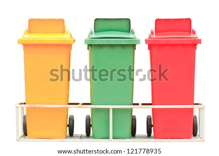 Yellow red and green garbage bin with wheels isolated on white background - stock photo