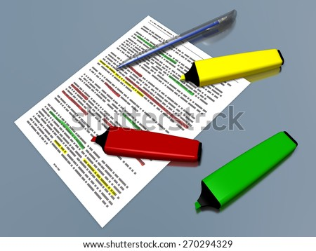 Yellow, red and green pen markers and a blue ballpoint pen laying on a sheet of paper with some printed text which is highlighted, referring to concepts such as sum up of a text, synthesis and work - stock photo
