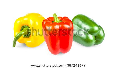 Yellow, red and green peppers, isolated on white - stock photo