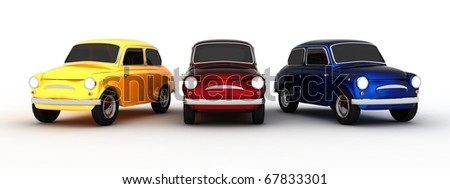 Yellow, Red, Blue Classic Car (3D) - stock photo