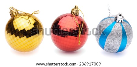 yellow, red, blue-silver christmas balls on white background - stock photo