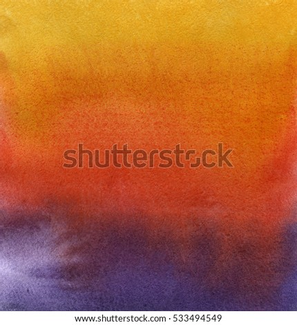 Yellow-red-cian gradient background. Hand drawn watercolor painting
