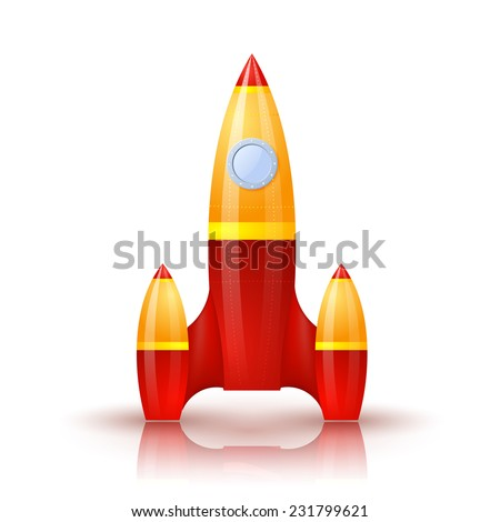 Yellow-red rocket with shadow and reflection. Cartoon. Raster copy - stock photo