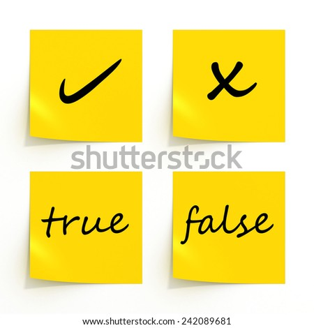 yellow reminder true or false - stock photo