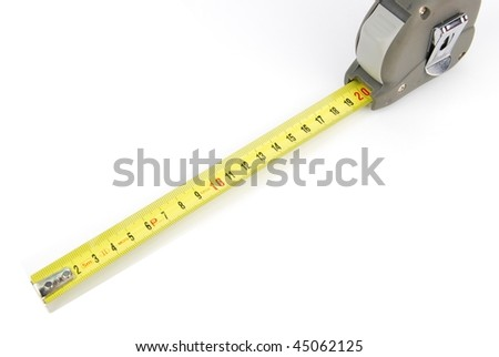 yellow retractable steel tape measure isolated on a white background