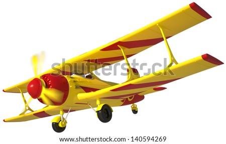 yellow retro airplane isolated on white background - stock photo
