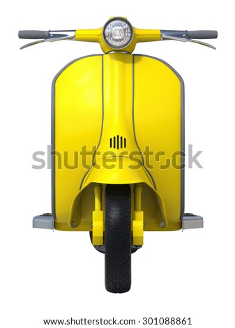 Yellow Retro Scooter on White Background. Front View
