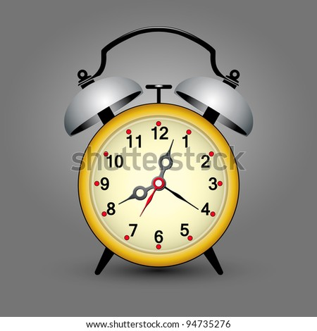 yellow retro ticking clock with space for your message, vector version also available in my portfolio - stock photo