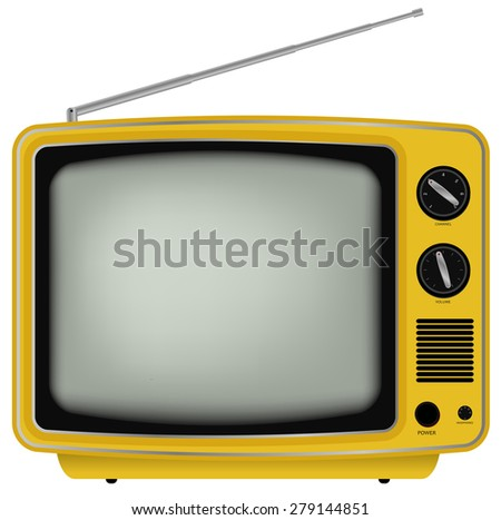 Yellow Retro TV - Illustration of Old Television Isolated on White Background - stock photo