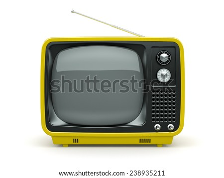 Yellow retro TV on white background  - stock photo