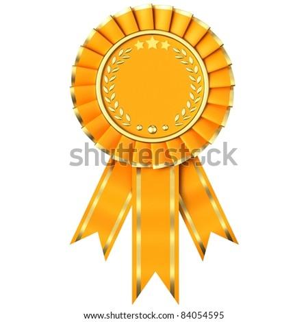 Yellow Ribbon Award isolated on white background. - stock photo