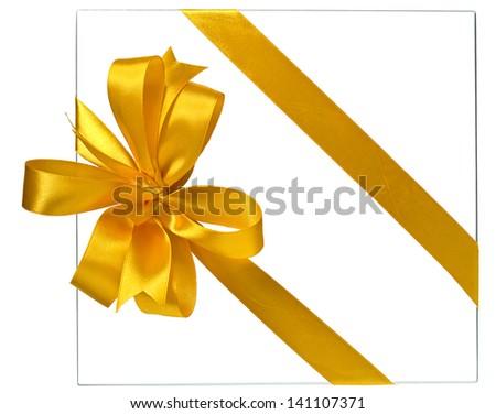 yellow ribbon bow and gift box contour - stock photo