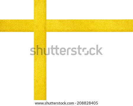 yellow ribbon cross template isolated, just put bow on it - stock photo