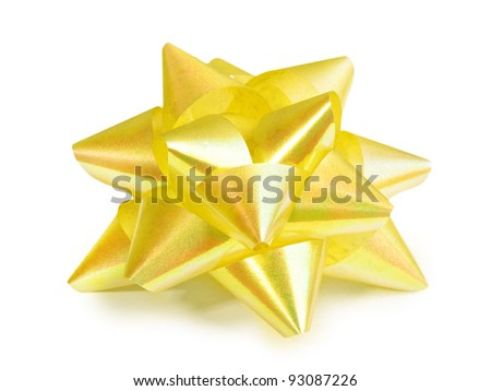 Yellow ribbon isolated on white - stock photo