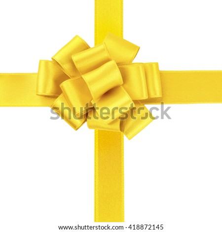 Yellow ribbons and bow, isolated on white - stock photo