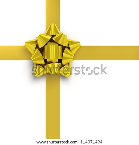 Yellow ribbons with bow for gift wrapping on white background