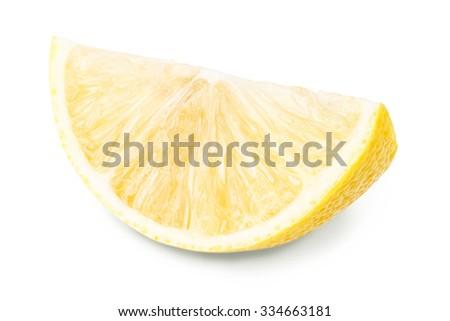 Yellow ripe juicy lemon Isolated on white background Clipping Path - stock photo