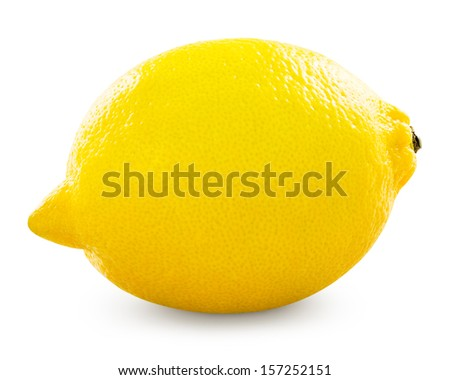 Yellow ripe lemon isolated on a white - stock photo